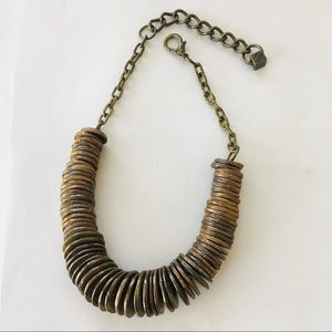 Anthropologie Pam Hiran Antique BrassTone Necklace